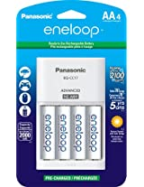 Panasonic K-KJ17MCA4BA Advanced Individual Cell Battery Charger with eneloop AA New 2100 Cycle Rechargeable Batteries