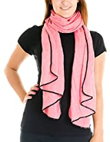 Cotton Cantina Juniors Semi Sheer Basic Scarf with Contrasting Trim (One Size, Hot Pink)