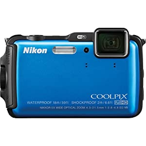 Nikon Coolpix AW120 16MP Point and Shoot Camera (Blue) with 5x Optical Zoom, 8GB Card and Camera Case