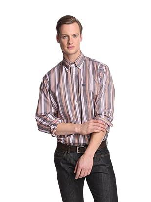 Façonnable Men's Classic Multistripe Shirt (Brown)