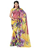 Admyrin Yellow Georgette Saree with Yellow Blouse Piece
