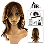 Trend Blonde Long Golden Brown Blonde Mix Curly Wig with a adjustable Buckle+Wig Cap+Wig Comb kit Style 5219