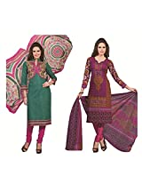 Rajnandini Combo of cotton Printed Unstitched salwar suit Dress Material (maroon & Green _Free Size)