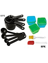 8 Piece Measuring Cups & Spoons + 4 pcs pack Muffin Mould + 2 pcs Silicone Spatula and Pastry Brush(sqr)