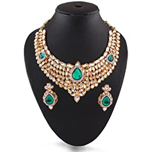 Sea Green Indian Fashion Kundan Necklace with Matching Earring By Variation