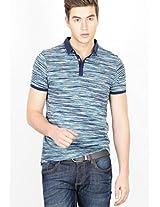 Printed Blue Polo T Shirt