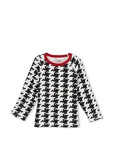 Soft Clothing for Kids Girl's Raglan Houndstooth Long Sleeve Knit Top (Black/White)