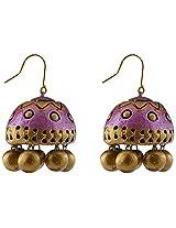 Avarna Terracotta Jhumki Hanging Earrings Jhb0002 For Women (Purple )