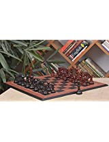 Chessbazaar Combo Of Apache Series Chess In Ebony/Bud Rose Wood & Black Anigre Red Ash Burl Board With Wooden Storage Box