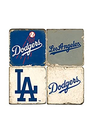 Studio Vertu Set of 4 Dodgers Logoed Tumbled Marble Coasters with Stand
