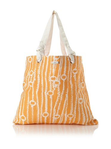 Julie Brown Reversible Shopper Tote (Orange/Pink Chains)