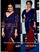 Bollywood Replica Kajol 60 Gm Georgette Saree In Blue And Red Colour Nc831