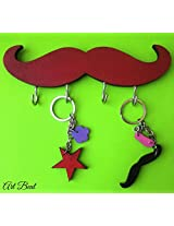 ART BEAT RED MUSTACHE KEY HOOK