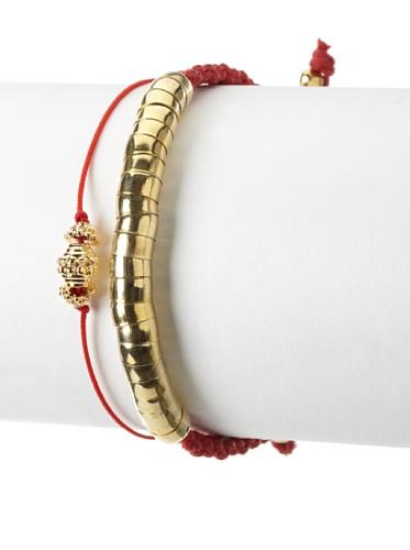 Shashi Taj Snake Adjustable Bracelet Set, Red