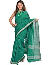 Exotic India Cadmium-Green Venkateshwara Saree with Woven Bootis and Bor - Green