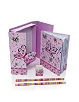 Pink Butterfly Girls Boxed Notebook Gift Set With Matching Pencils & Eraser Medium Size