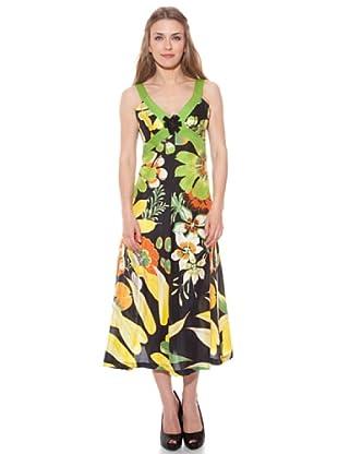 Divina Providencia Vestido De Seda Flores (Amarillo)