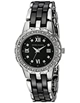 Anne Klein Women's 10/9457BKSV Black Ceramic Bracelet Swarovski Crystal Accented Watch