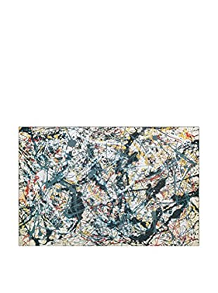 Artopweb Panel Decorativo Pollock Silver Over Black White Yellow and Red 1948 Multicolor