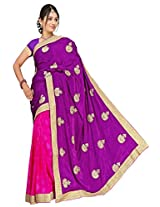 Chinco Embroidered Saree With Blouse Piece (1103-C_Purple & Pink)