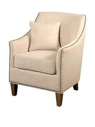 Abbyson Living Lily Nailhead Trim Armchair, Cream