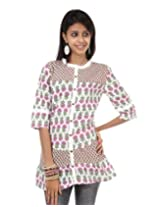 Rajrang Womens Cotton Kurta -Red And White -Medium