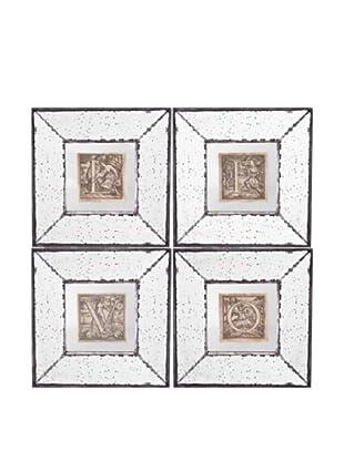 Set Of 4 Mirror Art (Silver Beige Aged Gold)