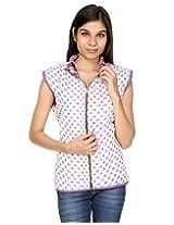 Rajrang Womens Cotton Jacket -Purple, White -X-Large