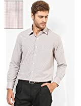 Beige Checks Regular Fit Formal Shirt Peter England