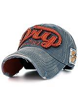 Ililily Men's Distressed Vintage Denim Dry Baseball Leather Snapback Trucker Hat Navy AD