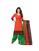 Shree Ganesh Women's Cotton Unstitched Dress Material (FP405_Orange Green_Free Size)