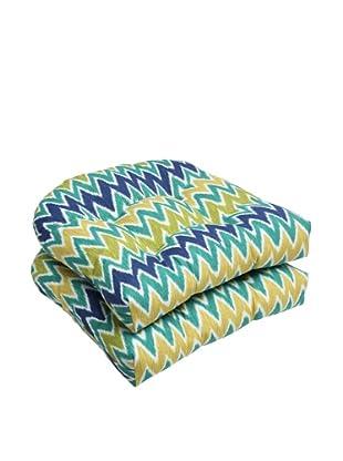 Pillow Perfect Set of 2 Outdoor Zulu Wicker Seat Cushions, Blue/Green