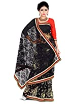 Zoom Embroidered Saree (3181_Black Orange)