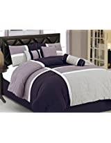 Chezmoi Collection 7-Piece Quilted Patchwork Comforter Set, Lavender Purple, King