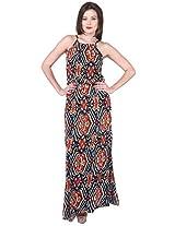 Purys Women's Maxi Dress (E-150649SP-3396_Multi Brown Red_M)