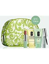 NEW 2015 Clinique 5pc Beauty Color Skincare Makeup Gift Set Dramatically Different Moisturizing Lotion+, Liquid Facial Soap Mild , Lash Doubling Mascara & More! ($70 Value) Travel Size with Cosmetic Bag