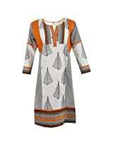 Handicraft Kottage Women's Cotton Orange Long Sleeve Kurti