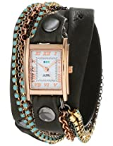 La Mer Collections Women's LMMULTI3006 Rose Gold-Plated Watch with Wraparound Black Leather Band and Swarovski Crystal Chains