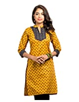 Almas Women's Cotton Regular Fit Kurti (ALM-KUR-300115_L, Orange, Large)