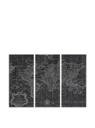 Oliver Gal World Map 1778 Triptych Canvas Art