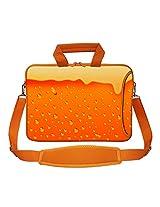 Meffort Inc 15 15.6 inch Orange Color Matching Neoprene Laptop Bag Sleeve with Extra Side Pocket, Soft Carrying Handle & Removable Shoulder Strap - Full Glass of Beer