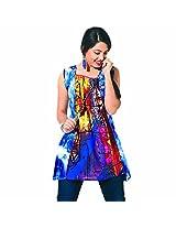 Garden Vareli Women's Shy Glamour Printed Tunic (58-1_Blue_Medium)