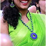 Lime green and blue terracotta long necklace with earrings