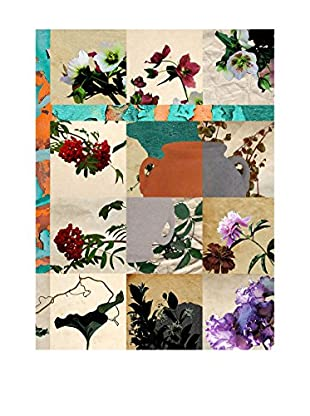 Contemporary Living Wandbild Stampa Collage Flowers