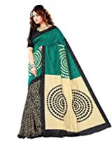 Sangam Saree Womens Rama Green & Balck Cottan Silk Print Saree