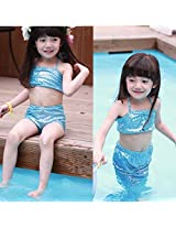 Girl Little Mermaid Tail Bikini Set Swimmable Swimming Princess Costume Swimsuit (90, Blue)