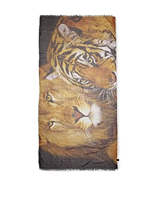 CHIC Women's Lion and Tiger Digital Woven Viscose Scarf, Big Cats, One Size