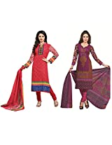Rajnandini Combo of cotton Printed Unstitched salwar suit Dress Material (Green & Pink _Free Size)
