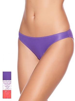 Princesa Pack x 3 Braguitas Bikini Poliamida Triplets (Morado / Blanco / Naranja)