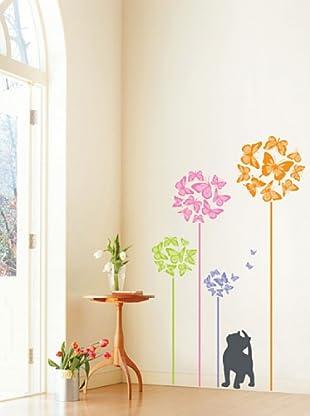 Vinilo Adhesivos gato y mariposas coloreados Multicolores